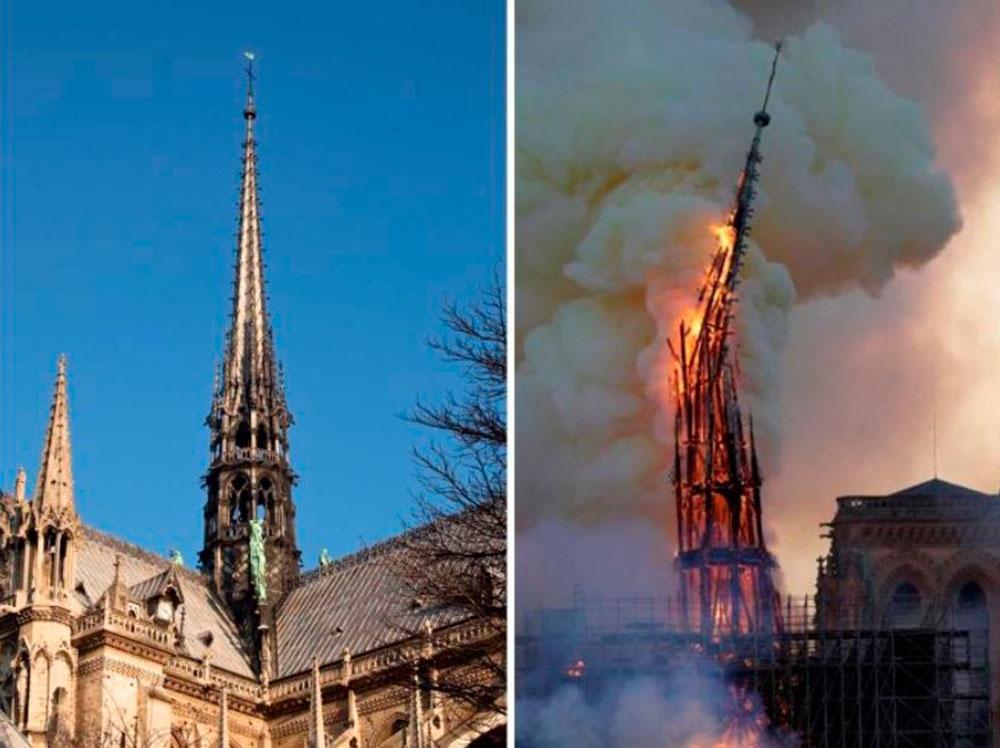 노트르담 성당의 '십자가 첨탑' 화재 전 모습